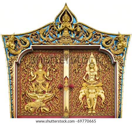 temple door decorated on wood carved gold paint ,thai style in temple at Bangkok, Thailand