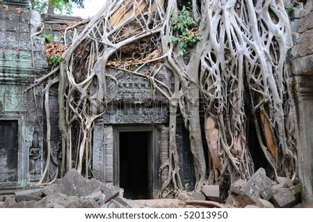 Temple doorway, Angkor Wat, Cambodia - stock photo
