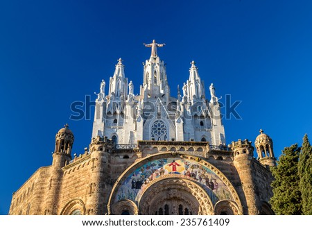 Temple Expiatori del Sagrat Cor on Tibidabo mountain in Barcelona, Spain - stock photo