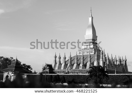Temple golden Wat Thap Luang in Vientiane, Laos , They are public domain or treasure of Buddhism, no restrict in copy or use