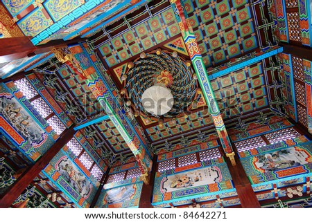 Temple hall at the top of the mural decoration - stock photo