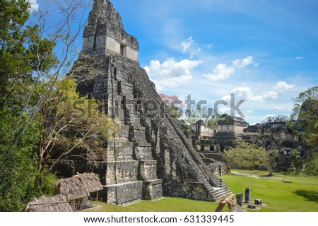 Temple I of the Maya archaeological site in Tikal National Park, Guatemala. Central America