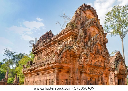 Temple In Banteay Srei Temple Complex - Angkor, Cambodia  - stock photo