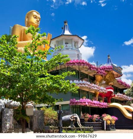 temple in Dambulla Sri lanka - stock photo