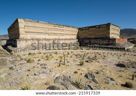 temple in the ancient city of Mitla , a center of Zapotec culture  - stock photo
