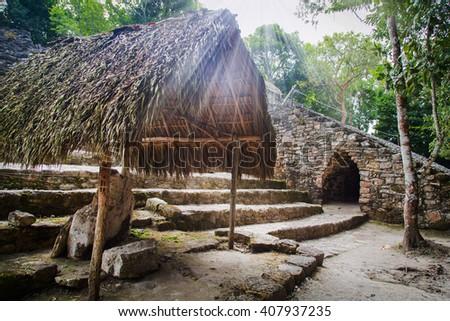 Temple Mayan Pyramid in Coba, Yucatan, Riviera Maya, Mexico - stock photo