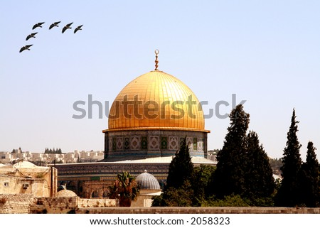 Temple Mount at the Dome of the Rock with birds flying over