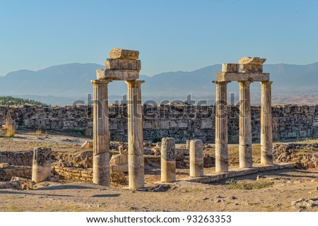 Temple near South Gate in Hierapolis ancient Greco-Roman and Byzantine city. It is is located adjacent to Pamukkale