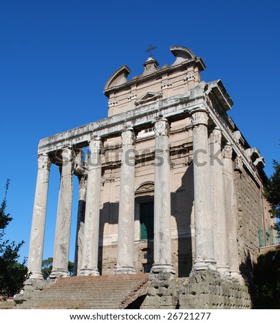 Temple of Antonius and Faustina, Roman Forum, Rome, Italy - stock photo