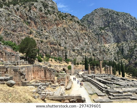 Temple of Apollo, Delphi GREECE - stock photo