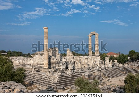 Temple of Apollo in antique city of Didyma - stock photo