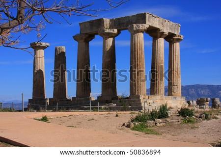 Temple of Apollo in Corinth, Greece - stock photo