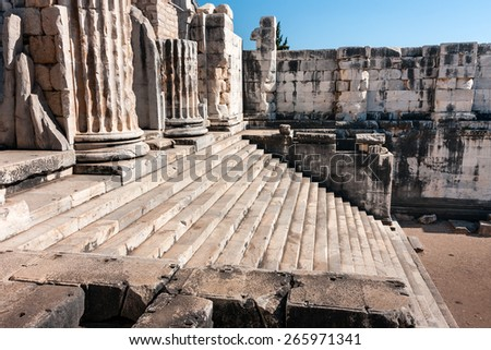 Temple of Apollo in Didyma, Turkey, ancient columns and stairs - stock photo