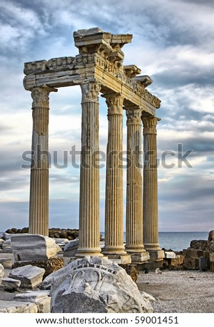 Temple of Apollo in early evening, Side, Turkey. HDR filter - stock photo