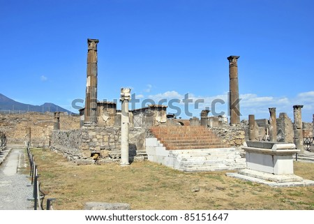 Temple of Apollo in Pompeii with an altar and a sundial. Italy. - stock photo