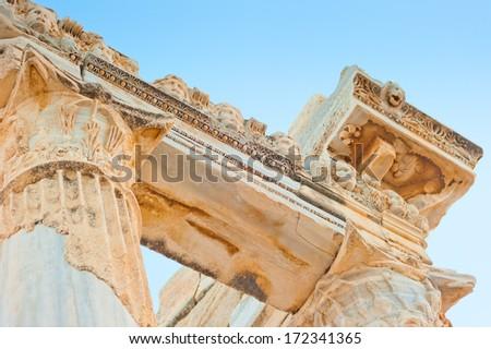 Temple of Apollo in Turkey, Side ruins - stock photo