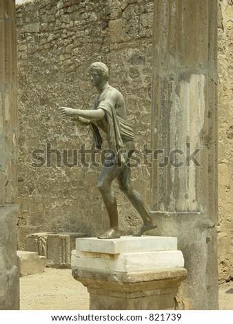 Temple of Apollo statue, Pompeii. Italy - stock photo