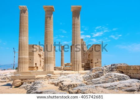 Temple of Athena Lindia in the Acropolis. Rhodes, Dodecanese Islands, Greece, Europe - stock photo