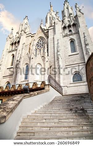 Temple of Atonement of the Sacred Heart.Tibidabo, Barcelona, Spain - stock photo