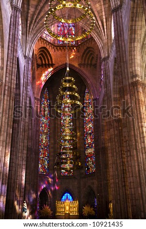 Temple of Atonement, Templo Expiatorio, Guadalajara, Mexico,  Inside wide view of stained glass windows, altar, sanctuary. - stock photo
