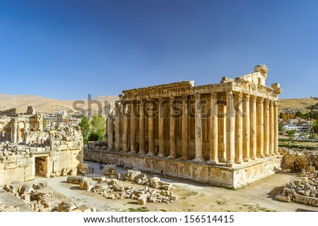 Temple of Bacchus in Baalbek, a town in the Beqaa Valley of Lebanon situated east of the Litani River. Known as Heliopolis during the period of Roman rule - stock photo