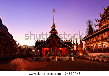 Temple of buddhism with evening light at chiangmai, thailand - stock photo