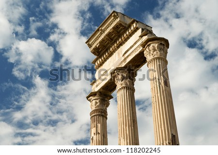 Temple of Castor & Pollux at Roman Forum, Rome, Italy - stock photo
