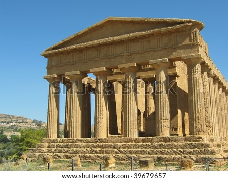 Temple of Concordia at the Valley of the Temples, Agrigento Sicily.