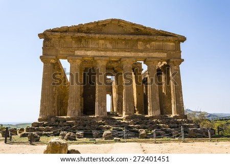 Temple of Concordia. Valley of the Temples at Agrigento on Sicily, Italy