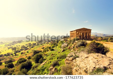 Temple of Concordia. Valley of the Temples in Agrigento on Sicily, Italy - stock photo