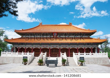Temple of Confucius. The Dacheng Hall in Temple of Confucius, located in Harbin City, Heilongjiang Province, China. - stock photo