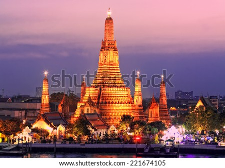 Temple of Dawn, Wat Arun, Bangkok, Thailand - stock photo