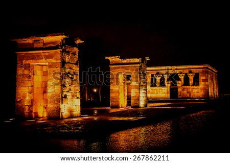Temple of Debod at night in Madrid, Spain. Debod's Temple is a gift from egyptian government to the city of Madrid - stock photo