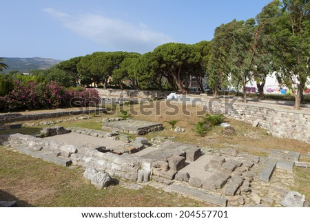 Temple of Dionysos at Kos island in Greece  - stock photo