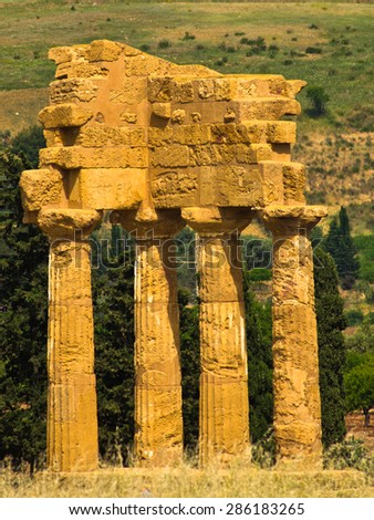 Temple of Dioscuri,Castor and Polux at Agrigento Valley of the Temple, Sicily, Italy - stock photo