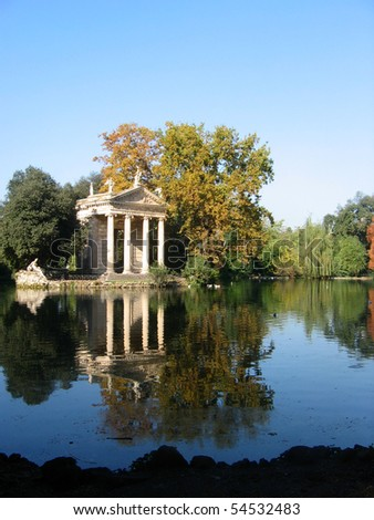 Temple of Esculapio, located at the beautiful park of villa borghese, Rome, Italy. - stock photo