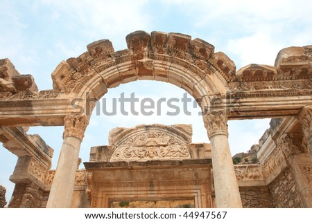 Temple of Hadrian in ancient city of Ephesus, Turkey - stock photo