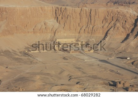 Temple of Hatshepsut Luxor, Egypt, aerial shot.