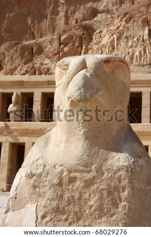 Temple of Hatshepsut Luxor, Egypt, hawk sculpture.
