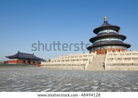 Temple of Heaven: hall of prayer for good harvest and temple - stock photo