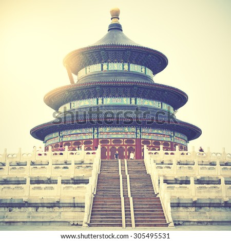 Temple of Heaven in Beijing, China. Instagram style filtered image - stock photo