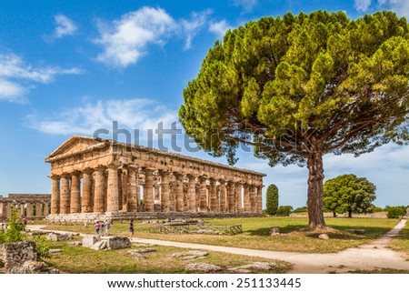 Temple of Hera at famous Paestum Archaeological UNESCO World Heritage Site, which contains some of the most well-preserved ancient Greek temples in the world, Province of Salerno, Campania, Italy - stock photo