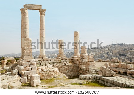 Temple of Hercules on the Amman citadel with city view, Jordan - stock photo