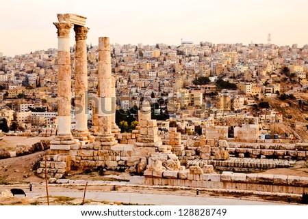 temple of hercules on the citadel in amman, jordan - stock photo