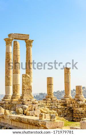 Temple of Hercules on the Citadel Mountain in Amman, Jordan. - stock photo