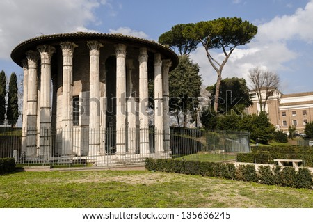 Temple of Hercules Rome - stock photo