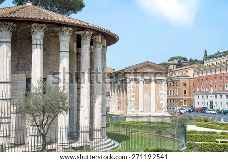 Temple of Hercules Victor and temple of Portunus, Rome Italy - stock photo