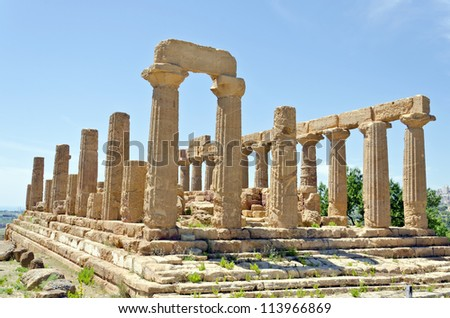 Temple of Juno - Valley of the Temples in Agrigento on Sicily, Italy