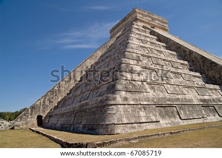 Temple of Kukulkan (El Castillo, the castle) - Chichen Itza, Yucatan, Mexico. A UNESCO World Heritage Site - stock photo