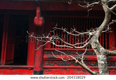 Temple of Literature in Hanoi, Vietnam. Architecture details of popular tourist site and city landmark. (Selective focus on tree branches) - stock photo